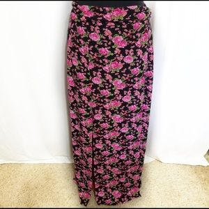 Pink Floral Fold Over Double Slit Maxi Skirt